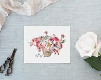 Coral Charm Bouquet Art Print