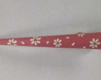 Large Hair Clip - Japanese Fabric Covered, Japanese Accessory, Flower, Pink, Metal Concord Clip, Kimono Beak Clip, Hair Accessory, Handmade