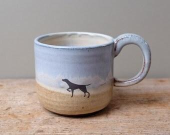 Dog on Sandy Beach Mug