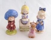 Mini figurines, little girls, teddy bear, Panda Prints, Japan, 1970s figures, ceramic girls, pink dress teddy, blue hat girl, Xmas ornaments
