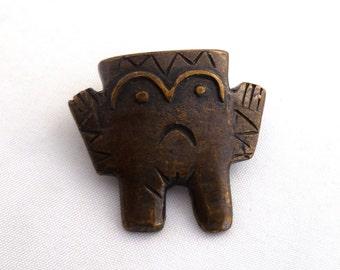 Peruvian Tie Tack, Chimu civilization, bronze pin, primitive man, male jewelry, Peruvian jewelry, Chimu pin, man tie tack, folk art jewelry