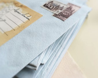 """10 Large Spanish Handcrafted Cotton Robin's Egg Blue Envelopes (8.5"""" x 6.5"""")"""