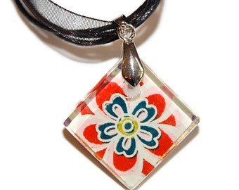 """Glass Tile Pendant - Chiyogami Floral Glass Diamond Pendant with Black Ribbon Necklace 18"""", Floral Pink and White Pendant, Flower Necklace"""