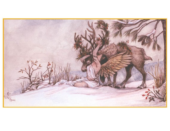 Winter Warmth: A Woodland Yule in a Digital Print