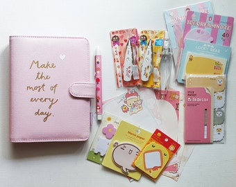 Pink Personal Planner Set Kit. A6 Medium Size. Leather. Filofax, Planner, memo sticky notes, Stationary Diary, deco tape.