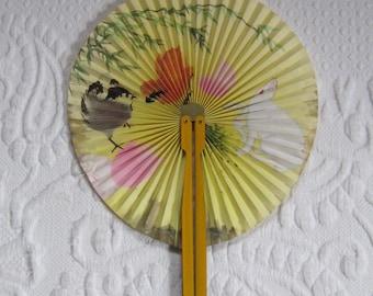 Vintage Fan in Metal Case . fan in metal case .  Cat and Bird Fan .  Collapsable Fan . Hand Painted Fan