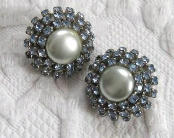 ice blue earrings . ice blue rhinestone earrings . pearl and blue rhinestone earrings . wedding earrings