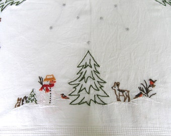 german xmas tablecloth . deer tablecloth .  winter scene Tablecloth  . embroidered winter topper . snowman topper . german xmas