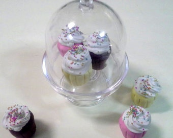 """18"""" doll Cupcakes in display stand- frosted cupcakes, dessert, food 1:3 scale"""
