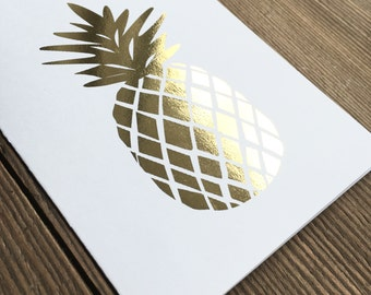 gold foil pineapple greeting card
