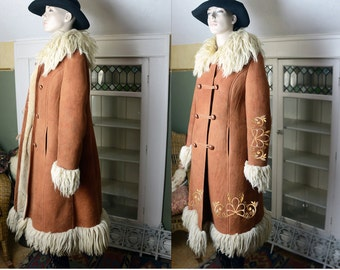 Vtg 60s 70s suede leather shearling coat shearling jacket boho festival hippie rust Russian princess mongolian fur Penny Lane Baby Firefly