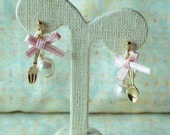 Sweet Lolita fork and spoon earrings