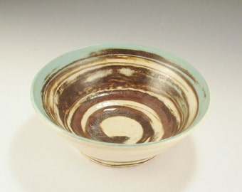 Pottery Bowl -  Southwestern  colors of Turquoise, Dark Brown, and White - Agateware Swirl Technique