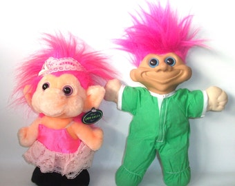 2 Vintage Plush Troll Dolls Lovable Trolls Pink Hair