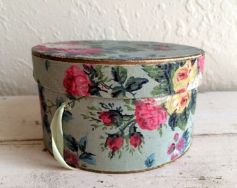 Antique Doll Hat Box Miniature Small Hatbox Antique Rose Wall Paper