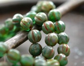 String Of Pearls - Czech Glass Beads, Green Stone Mix, Picasso, Melon Rounds 6mm - Pc 25