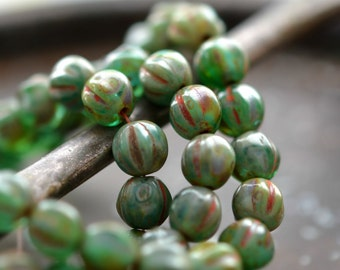 Last Listing - String Of Pearls - Czech Glass Beads, Green Stone Mix, Picasso, Melon Rounds 6mm - Pc 25