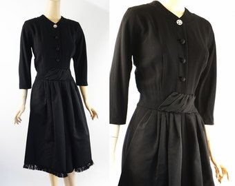 Vintage 1950s Dress Black Crepe with Front Swags by Jenny B38 W28