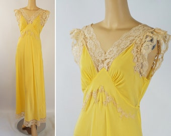 Vintage 1990s Rayon Bias Cut Nightgown Electric Yellow by J Peterman Sz L