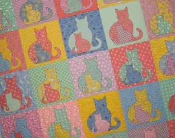 SIDEKICK Cat Applique Baby Quilt from Quilts by Elena 1930s Reproduction Fabrics