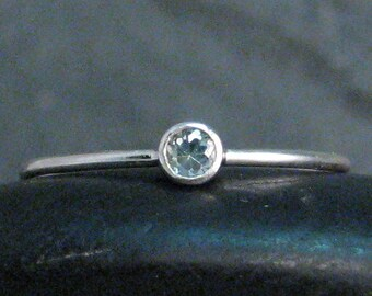 Dainty Gemstone Stacking Ring - Birthstone Stacker - Aquamarine Ring - March Birthstone -  Made to Order - 1mm Stacking Ring