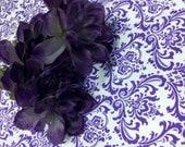PURPLE DAMASK RUNNER - Damask table runner -Last Ones - Madison Candy purple  and white  6 feet long wedding bridal decor