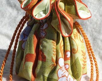 Hummingbird Jewelry Pouch in orange, pear and light yellow, Jewelry Travel Organizer, Jewelry Bag, Jewelry Tote