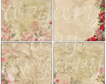 INSTANT DOWNLOAD  - Old Time Paper and Roses  Printable Papers -  12 x 12  inches Digital Download -  Image- Digital - Images - Original