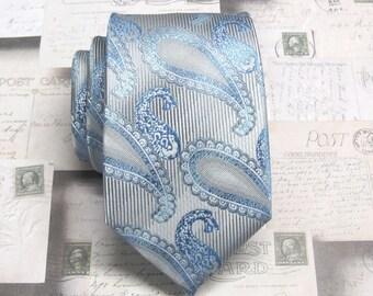 Necktie Silver Gray Blue Paisley Mens Tie