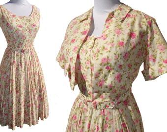 Vintage 60s Dress & Bolero Jacket Pink Roses Cotton Sundress S / M