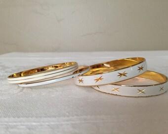 White Enamel Gold Tone Diamond Cut Bangle Bracelets Made in Japan