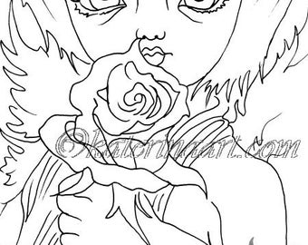 Angel boy white rose INSTANT DOWNLOAD Digi Stamps fantasy art By Katerina Art