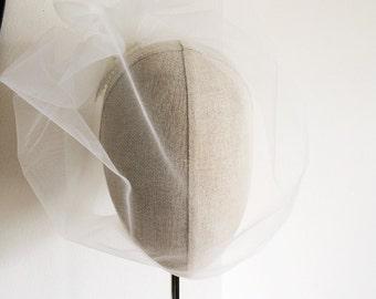 Ivory Illusion Birdcage Veil 18 Inch Tulle Veil Flower Back Blusher Veil
