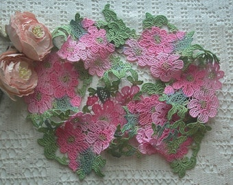 Hand Dyed Lace, Pinks, Greens, Flower Design Venise Lace, Embellishment, Venise Lace