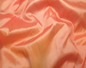 Sherbet Orange - Faux Silk Taffeta Fabric - 1 Yard