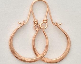 Artisan 14kt Rose Gold Filled Hammered Hoops Earrings Petite Gabriela