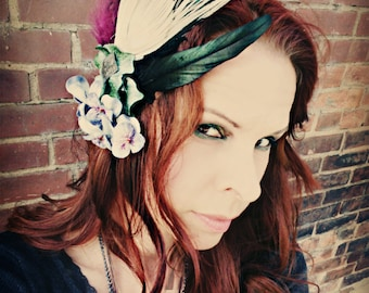 Vintage Violets - ATS Fae or Tribal Fusion Belly Dance Hair Clip