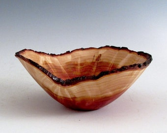 Small Artistic Natural Edge Cedar Burl Wood Turned Bowl - Men or Women - Kitchen and Gourmet - Sculptures - Wedding Gift