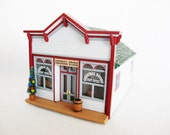 vintage miniature building plastic scale model general store with Christmas tree