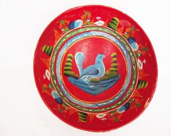 vintage mexican folk art gourd bowl olinala style blue bird