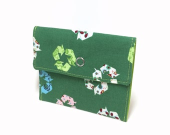 Recycle snap wallet. Card holder. Business card holder. Mini wallet for business cards, loyalty cards, credit cards, gift cards. Card case.