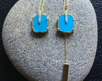 Turqouise Necklace, Gold Turquoise Necklace, Layering Necklace, Gold Necklace, Blue Necklace