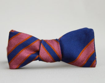 royal blue, pink, & orange striped bow tie // self tie bow tie // totally rad