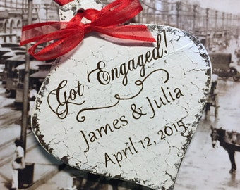 ENGAGED CHRISTMAS ORNAMENT, Mr. and Mrs. Christmas Ornament, Personalized Mr & Mrs Christmas Ornament, Shabby Chic Style Ornament, 3 1/4 x 5