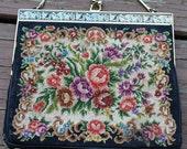 Vintage Petit Point Floral Needlepoint Evening Bag Purse