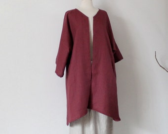 custom heavy linen coat with welt pockets open center / linen jacket /