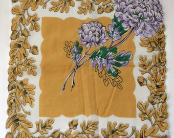 VINTAGE HANDKERCHIEF CHRYSANTHEMUM Oak Leaf/Acorn Border Purple Amber