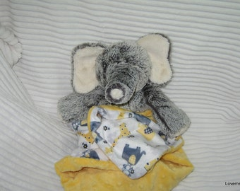Security Blanket, baby blanket, luvi, lovie - elephant lovems