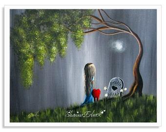gothic art, prints, wall art, girl and heart, art prints, art print, artwork, original art, fantasy, grave, outsider, erback, red hearts