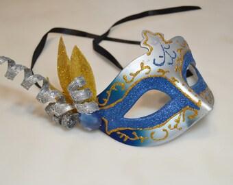 Blue and Gold Glitter Venetian Ribbon Mask